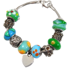 Stainless Steel & Glass Remembrance Beads Urn Charm Bracelet