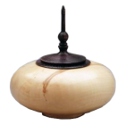Box Elder Wood Urn with Ebonized Oak Finial- Round