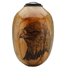 Eagle and Flag Pecan Wood Urn