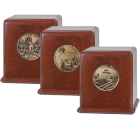 Medallion Mahogany Wood Urn