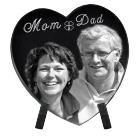 Photo Laser Engraved Black Marble Heart