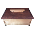 Beautifully handcrafted two-tone bubinga and wenge wood urn with tea light