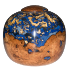 Black Cherry Burl Pearl Blue Gold Wooden Urn