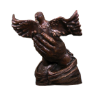 Dove in Hands Bronze Sculpture Urn
