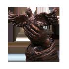 Dove in Hands Bronze Sculpture Urn