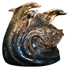 Tranquility Dolphins Bronze Sculpture Urn