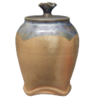 Wood Fired Urn with Sea Green Glaze