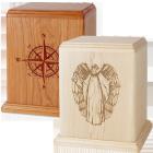 Newport Wood Urn with Laser Carved Design