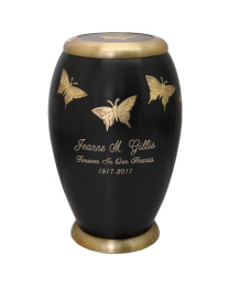 Fluttering Monarch Brass Urn
