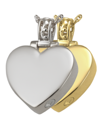 Heart with Filigree Bail Cremation Pendant
