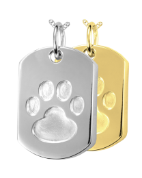 Paw Print Dog Tag Cremation Pendant