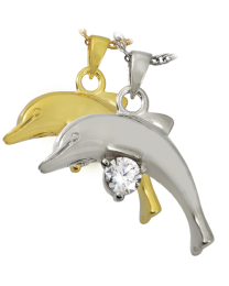 Dolphin with Stone Cremation Jewelry