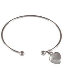 Stainless Steel Cuff Bracelet with Heart Pendant