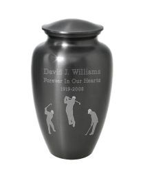 Simple Gray Urn With Custom Graphic