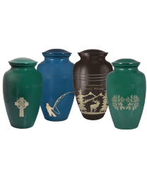 Handpainted Brass Urn with Engraved Theme
