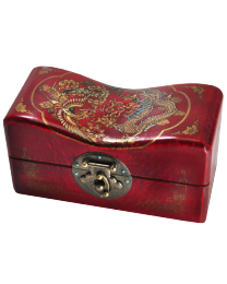 Asian Headrest Deep Red with Dragon, Small