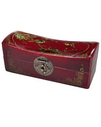 Asian Headrest Deep Red with Birds, Small