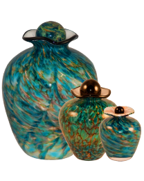 Amato glass urn shown in full, small and keepsake sizes