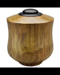 Tulip Poplar Wood Urn with Ebonized Oak Lid