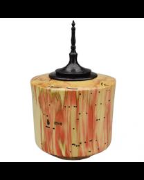 Red Box Elder Keepsake Urn with Ebonized Oak Finial