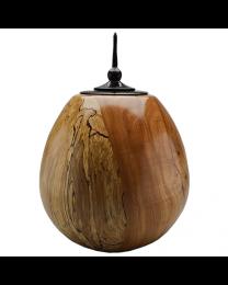 Spalted American Beech Wood Urn with Ebonized Oak Finial