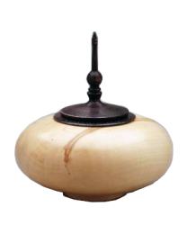 Box Elder Wood Urn with Ebonized Oak Finial- Round