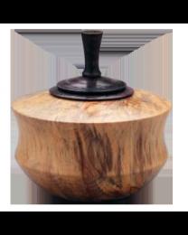 Box Elder Wood Urn with Ebonized Oak Finial