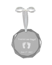 Round Faceted Crystal Ornament With Baby Feet