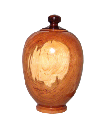 Cherry Hand-Turned Wood Urn With Finial