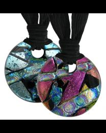 Memorial Glass Urn Jewelry: Classic Embrace Round