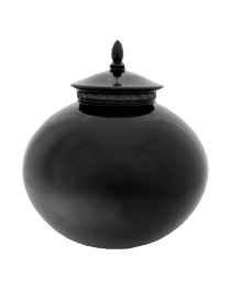 Spherical Black Pottery Urn