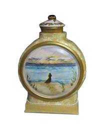 Silhouette Beach Scene Ceramic Hand-painted Urn