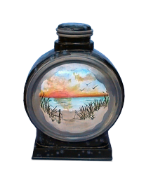 Serene Sunset Ceramic Hand-painted Urn