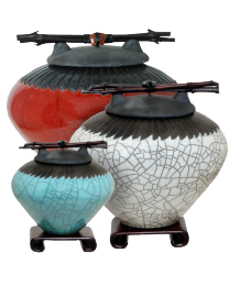 Feather Raku Cremation Urn