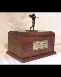 maple wood motorcycle engine urn in bronze