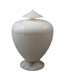 Italian Alabaster Urn with Sage Base