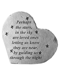 """Perhaps The Stars..."" Heart Shaped Garden Memorial Stone"