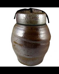 Large Shino Raku Urn