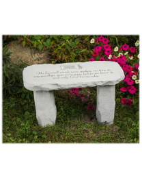 two samples of engraved benches with customizable personal black marble plaques