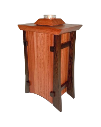 Bubinga & Wenge Vertical Wood Urn with Tea Light