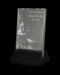 Luminary Lighted Glass Engraved Memorial Plaque
