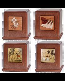 Mosaic Mahogany Wood Urn