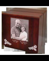 Classic Cherry Finish Wood Companion Urn, Cube