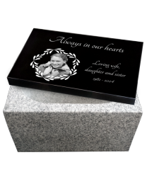 Photo Laser Engraved Top with China White Base Granite Urn