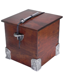 Solid Cherry Wood Urn with Pewter Side Brackets & Corners
