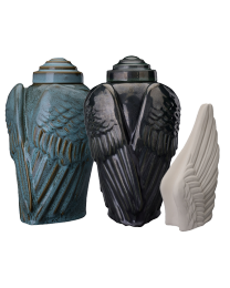biodegradable memory chest urns in black, turquoise or brown