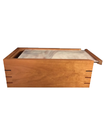 Ambrosia Maple wood urn with sliding glass lid