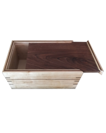 Cherry wood urn with sliding glass top