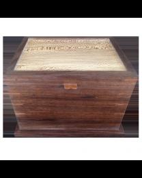 ash and walnut hardwood urn