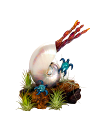 cremation sculpture with turtle, crab and coral